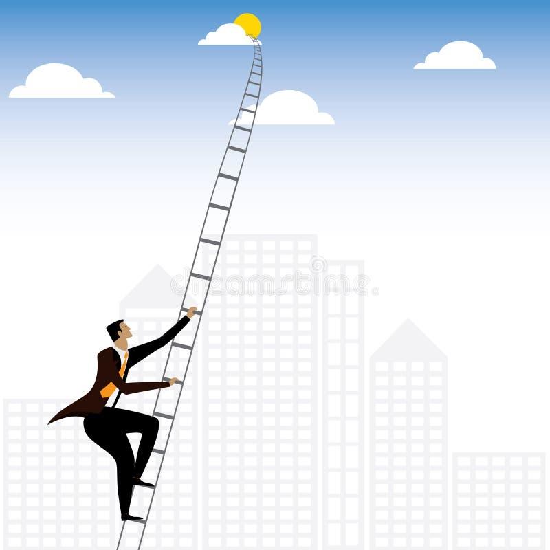 Kletternde Treppe des Geschäftsmannes oder der Exekutive zum Himmel - Vektorgraphik stock abbildung
