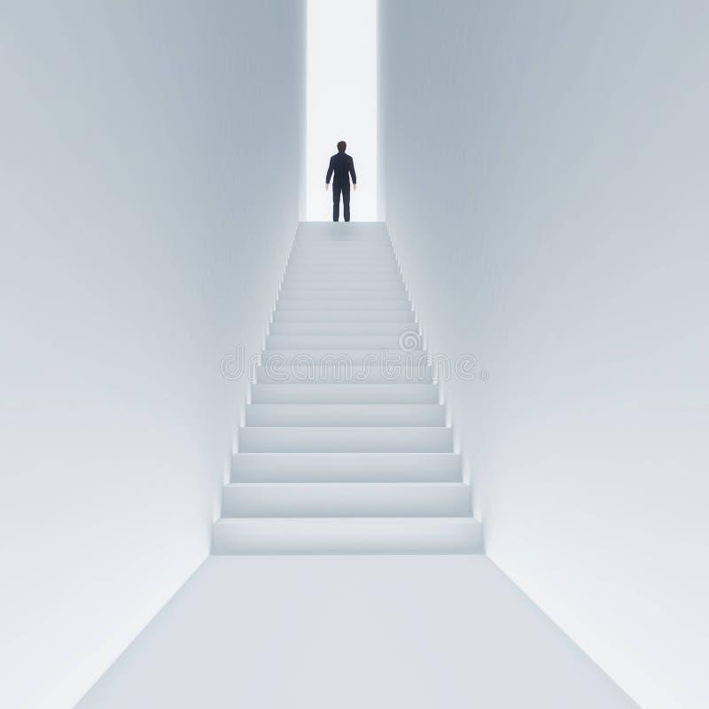 Kletternde Treppe des jungen Mannes zum Himmel vektor abbildung