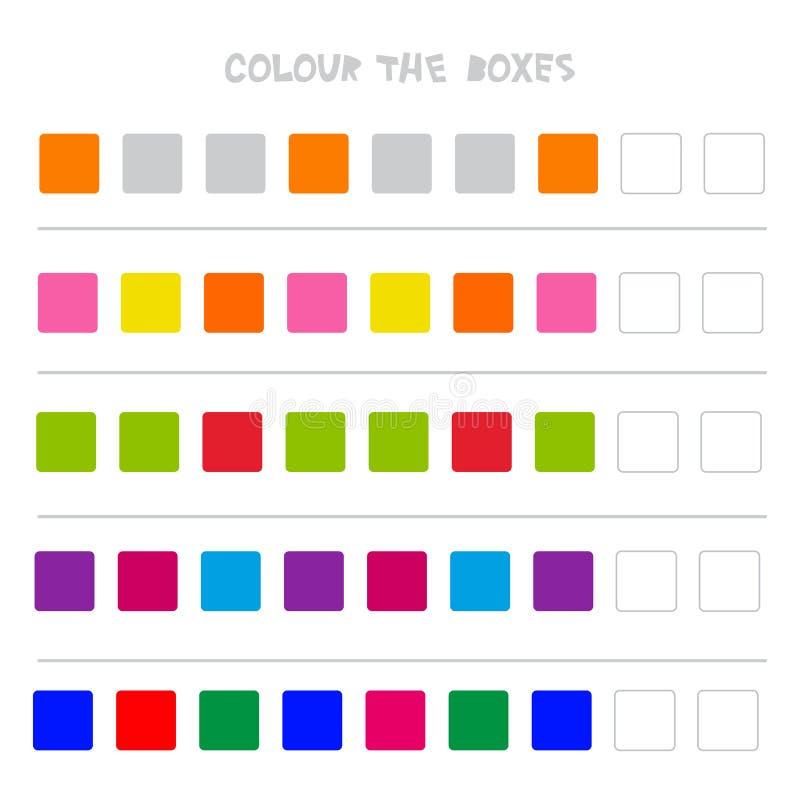 Kleur de dozen Onderwijsspel wat daarna van Onderwijs Tellend spel voor Peuterkinderen komt Vector vector illustratie