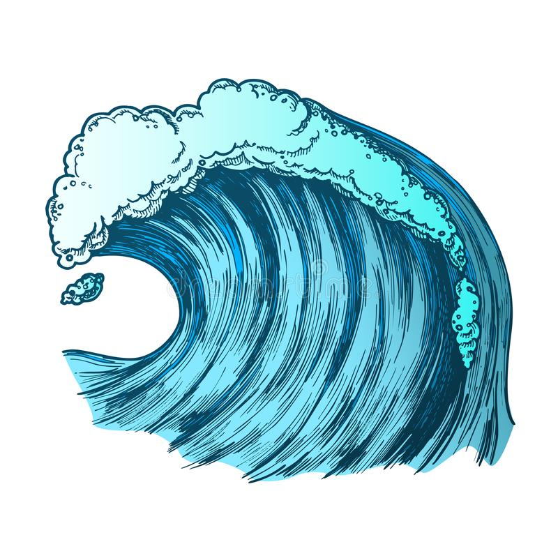 Kleur die Schuimende Tropische Oceaanmarine wave vector meeslepen stock illustratie