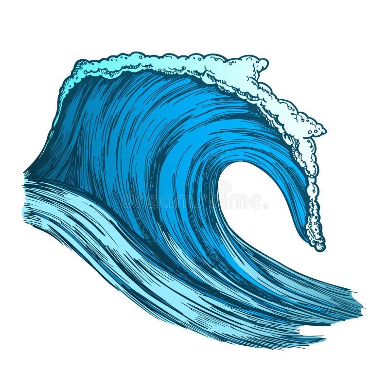 Kleur die Tropische Oceaanmarine wave storm vector meeslepen vector illustratie