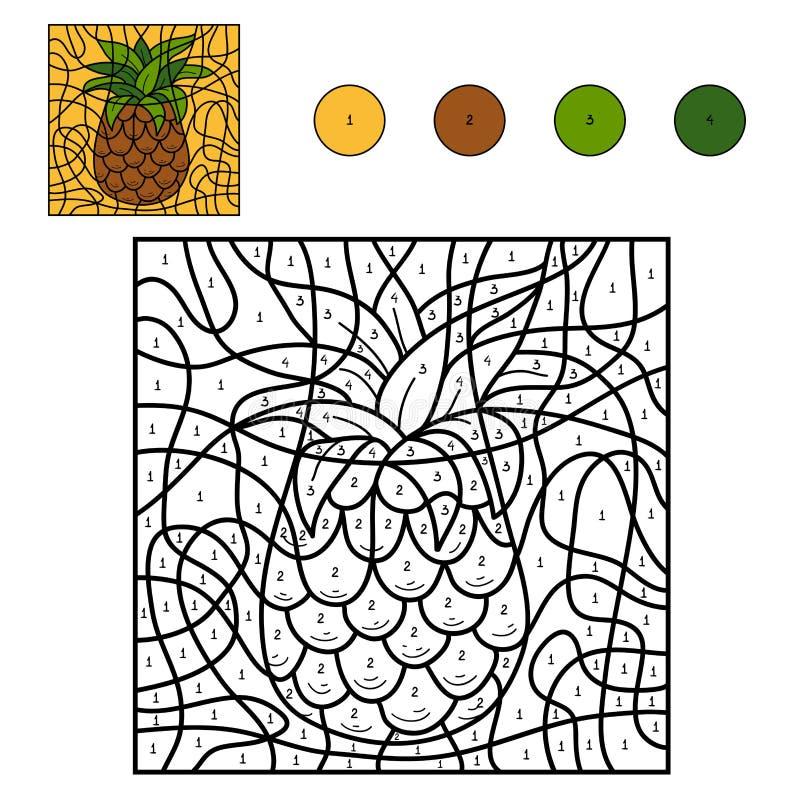 Kleur door aantal: ananas stock illustratie