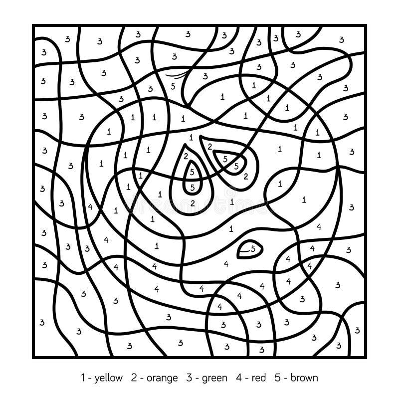 Kleur door aantal, appel vector illustratie