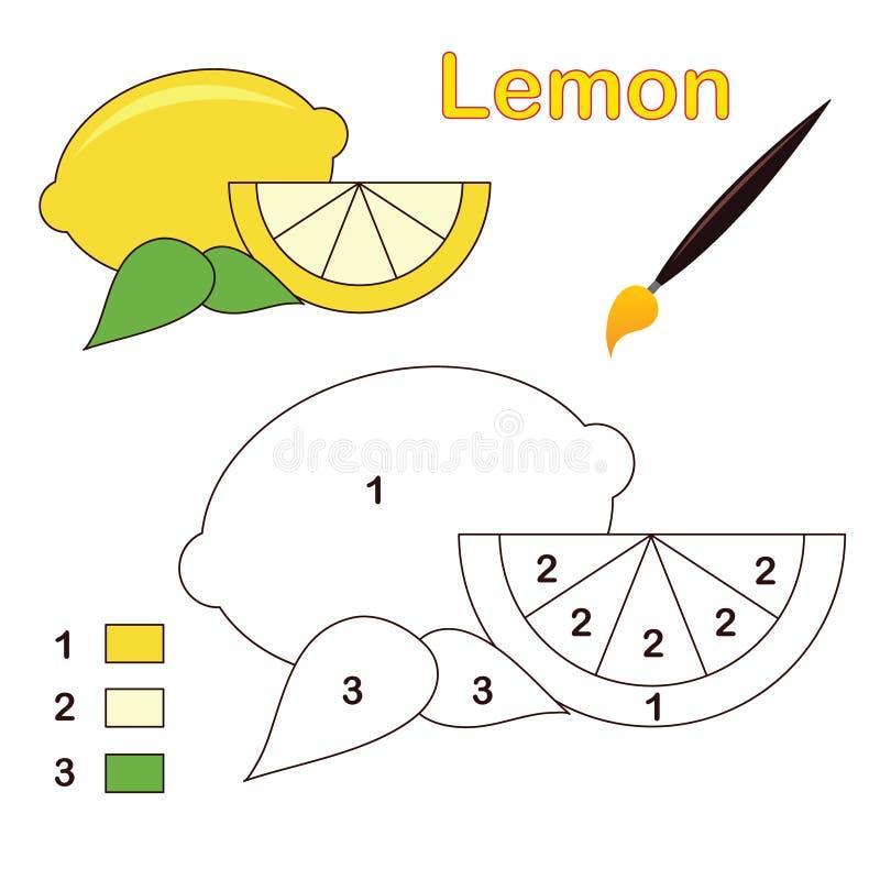 Kleur door aantal: citroen stock illustratie