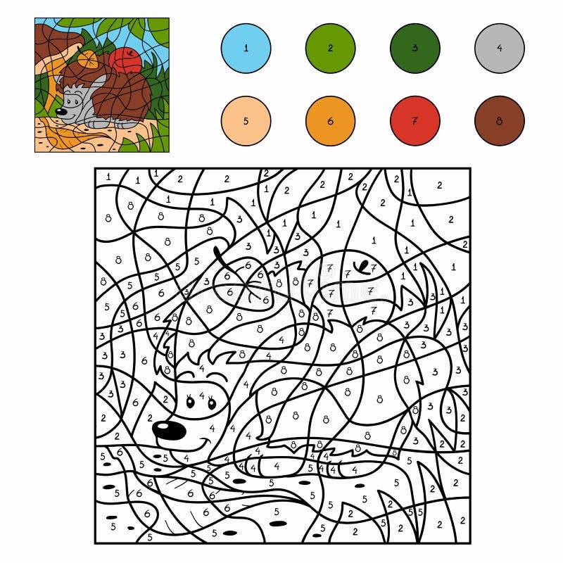 Kleur door aantal (egel) vector illustratie