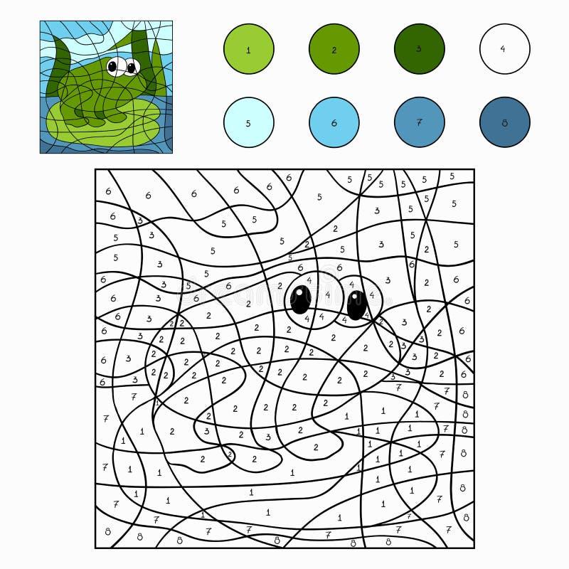 Kleur door aantal (kikker) stock illustratie