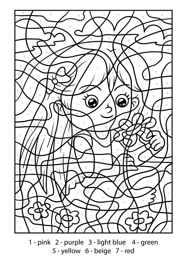 Kleur door aantal, Meisje met een bloem royalty-vrije illustratie