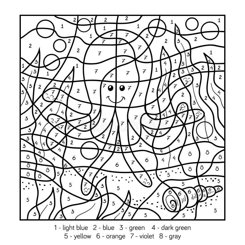 Kleur door aantal, octopus stock illustratie