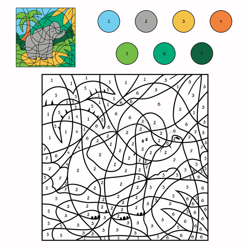 Kleur door aantal (olifant) vector illustratie
