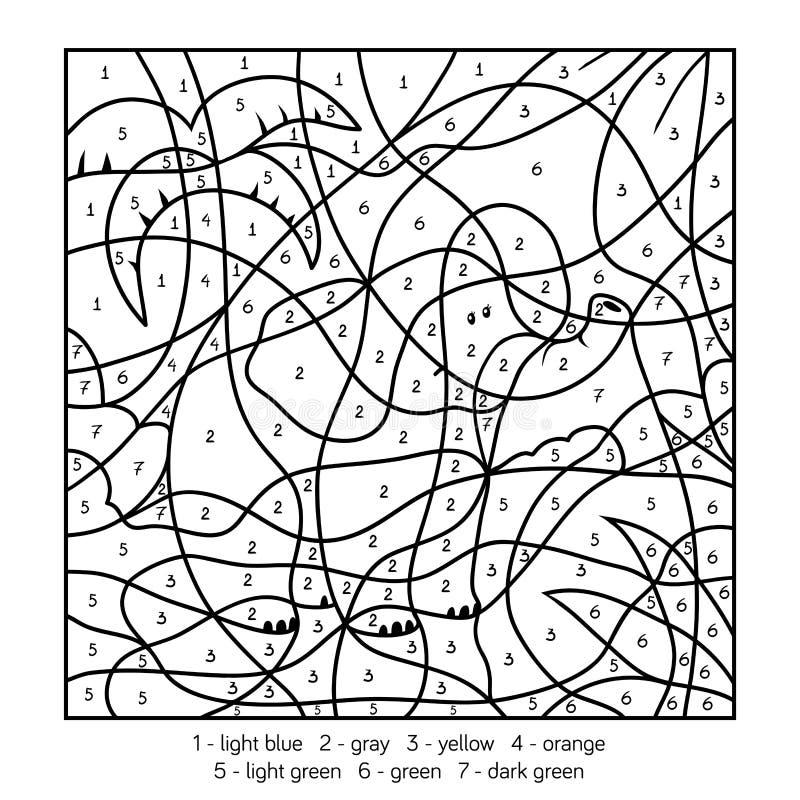 Kleur door aantal, olifant vector illustratie