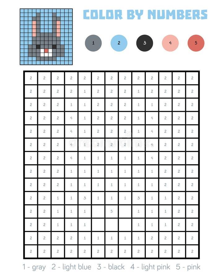 Kleur door aantal, onderwijsspel, Konijn stock illustratie
