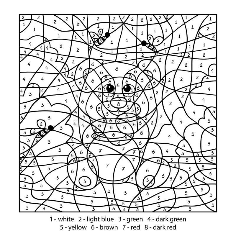 Kleur door aantal, onderwijsspel met beer vector illustratie