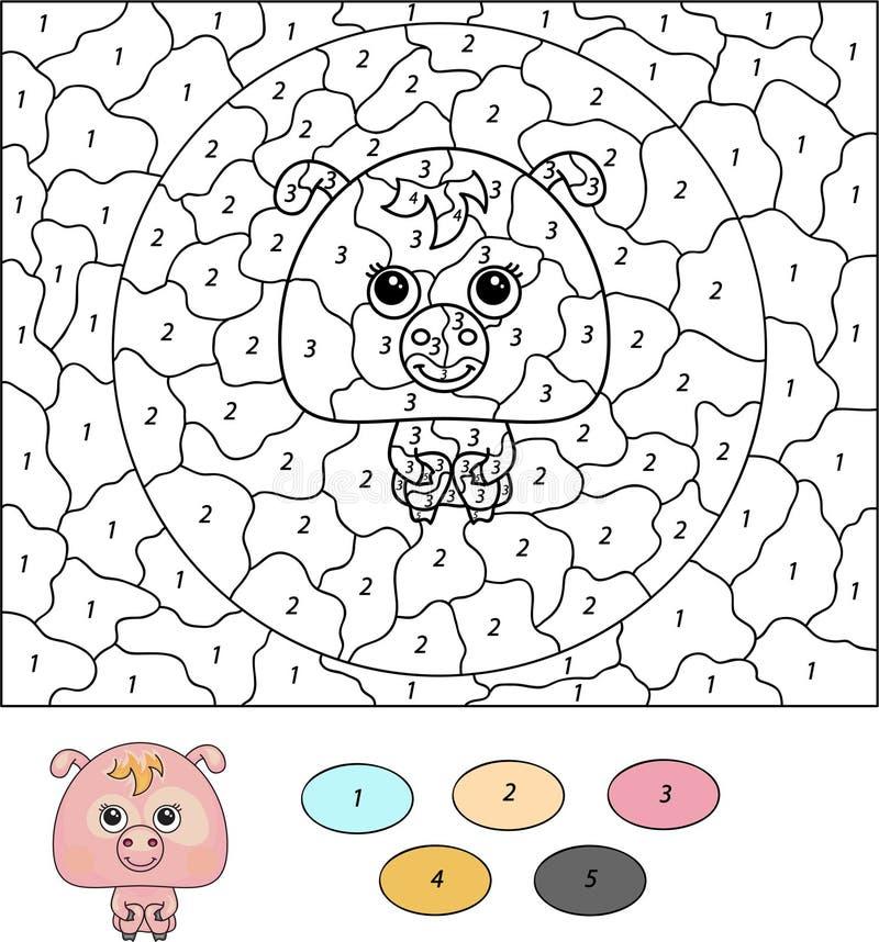 Kleur door aantal onderwijsspel voor jonge geitjes Beeldverhaalvarken royalty-vrije illustratie