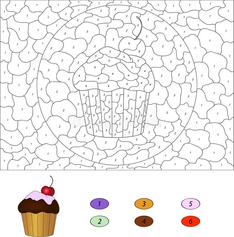 Kleur door aantal onderwijsspel voor jonge geitjes Cake met kers Vec stock illustratie