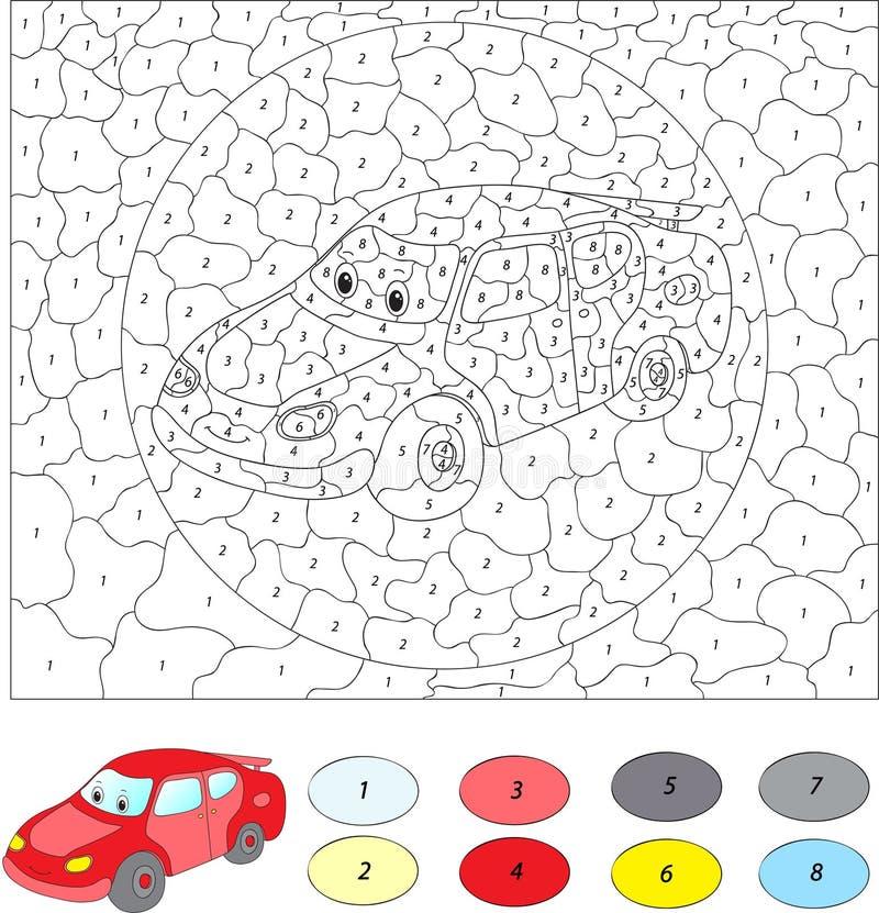 Kleur door aantal onderwijsspel voor jonge geitjes De auto van het beeldverhaal royalty-vrije illustratie