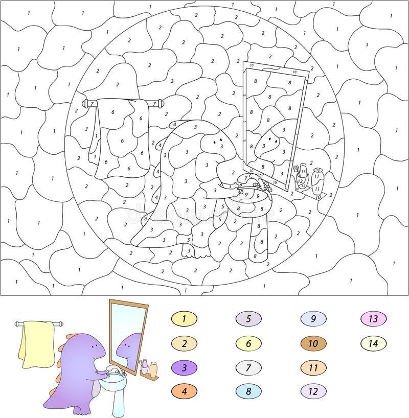 Kleur door aantal onderwijsspel voor jonge geitjes Grappige beeldverhaaldraak stock illustratie