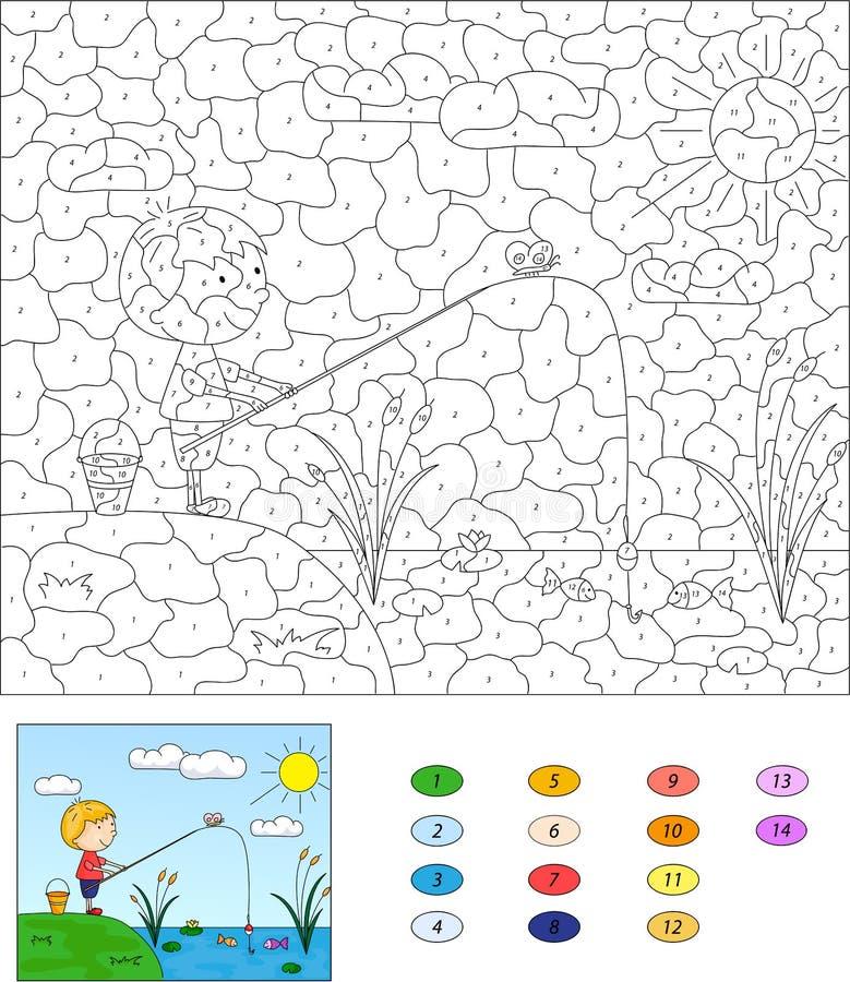 Kleur door aantal onderwijsspel voor jonge geitjes Jongensvisser met FI vector illustratie