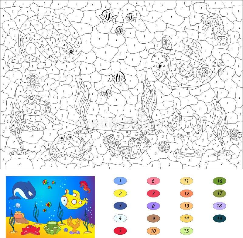 Kleur door aantal onderwijsspel voor jonge geitjes Onderwaterwereld, oce stock illustratie