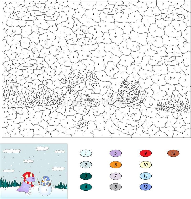 Kleur door aantal onderwijsspel voor jonge geitjes Purpere draak en besnoeiing stock illustratie