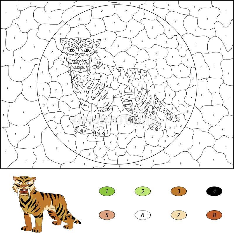 Kleur door aantal onderwijsspel voor jonge geitjes Sabel-getand beeldverhaal stock illustratie