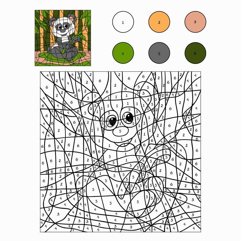 Kleur door aantal (panda) vector illustratie