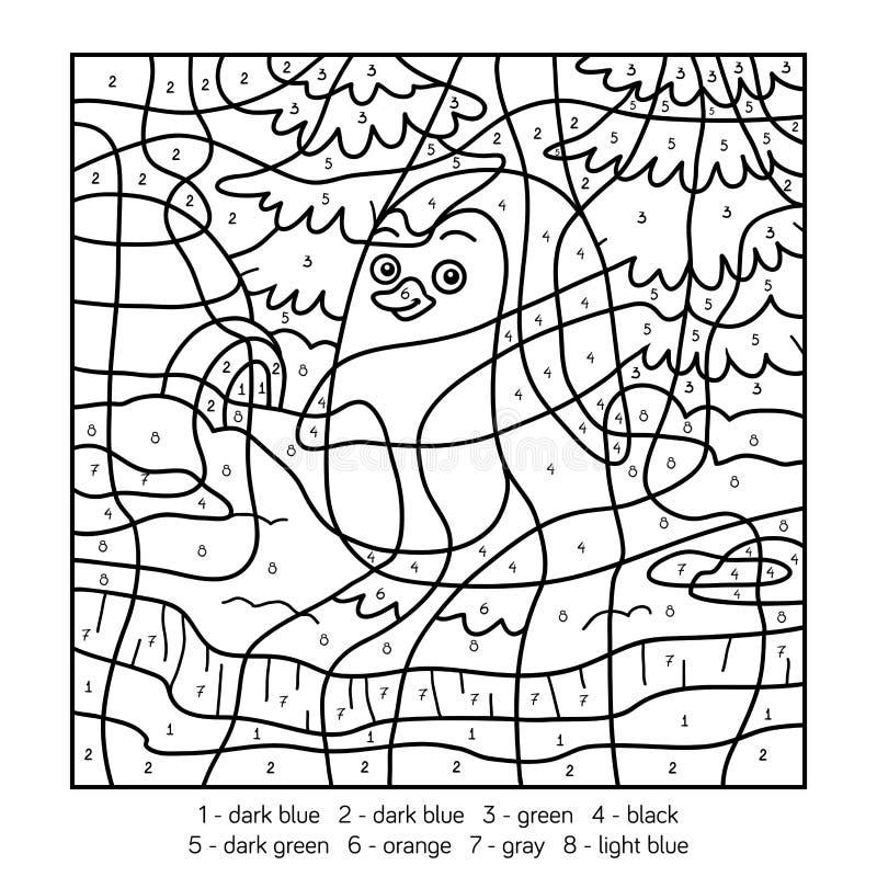 Kleur door aantal, pinguïn stock illustratie