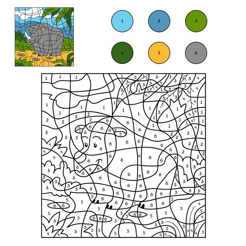 Kleur door aantal (rinoceros) vector illustratie