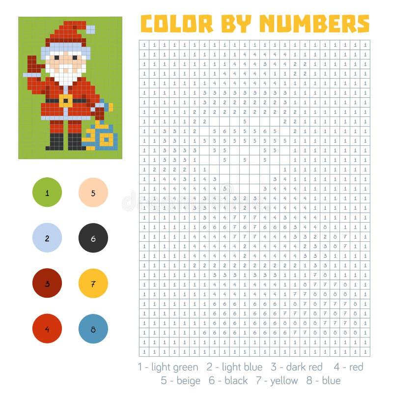 Kleur door aantal, Santa Claus vector illustratie