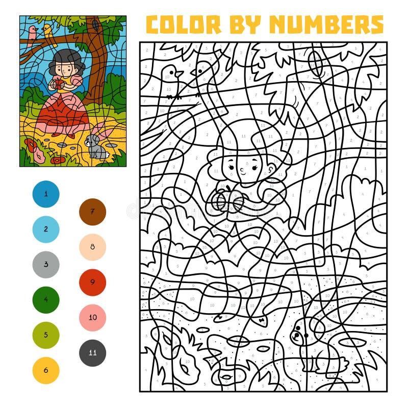 Kleur door aantal Sprookjes Sneeuwwitje en appel royalty-vrije illustratie