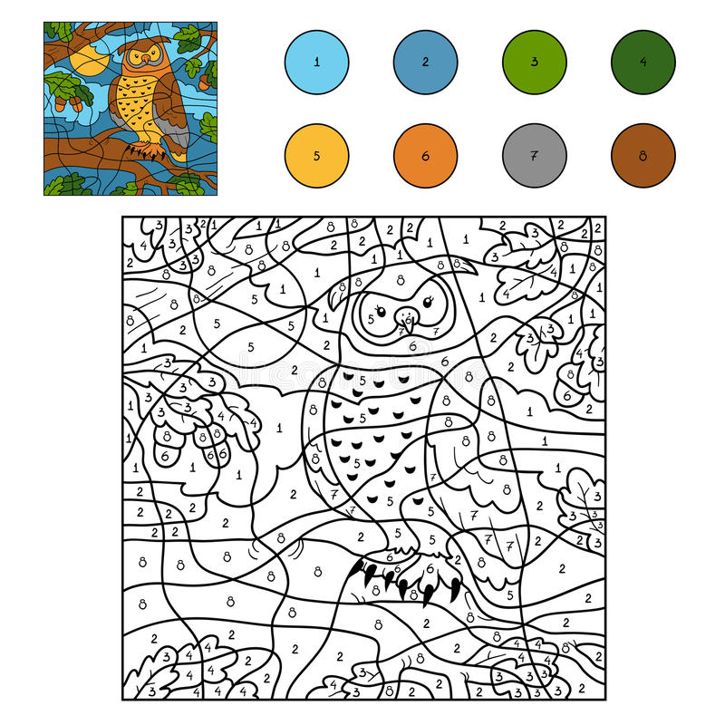 Kleur door aantal (uil) stock illustratie