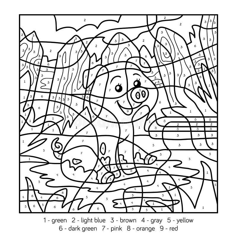 Kleur door aantal, varken vector illustratie