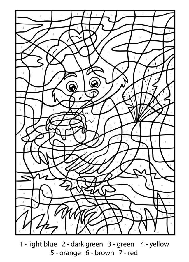 Kleur door aantal, Vogel met cake vector illustratie