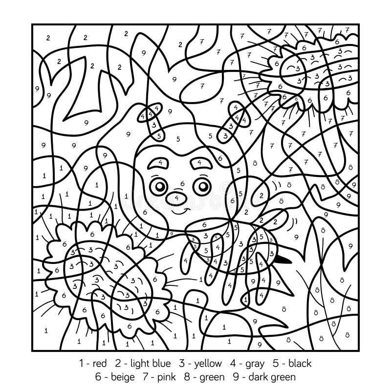 Kleur door aantal voor kinderen met een bij stock illustratie