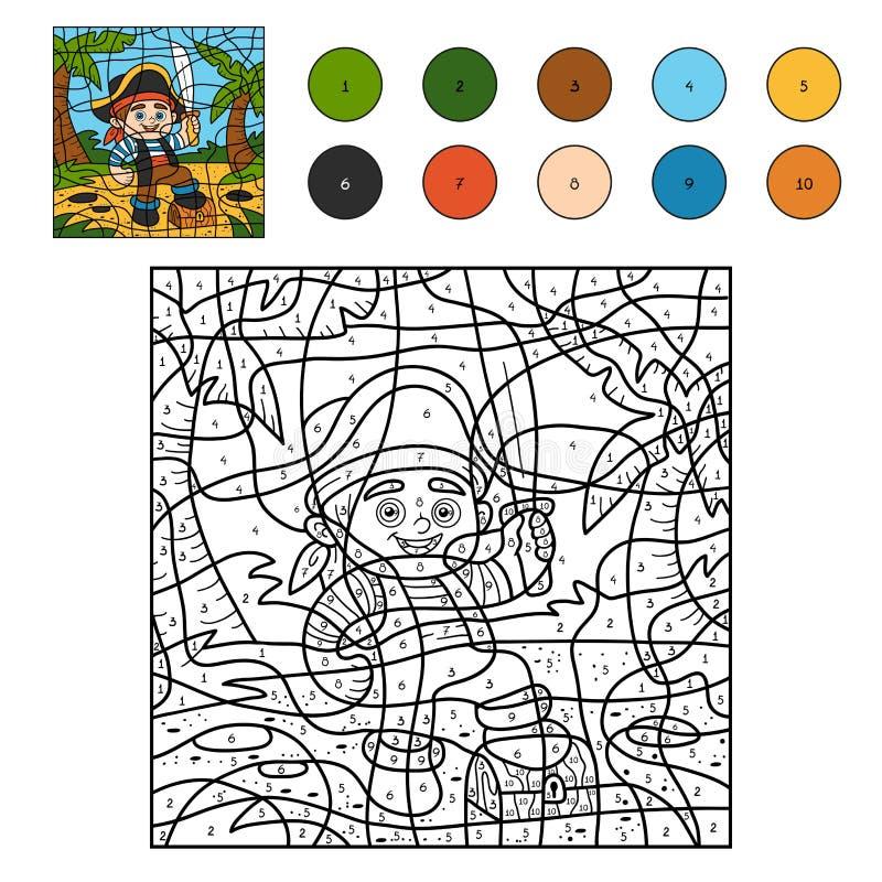 Kleur door aantal voor kinderen (piraatjongen) stock illustratie