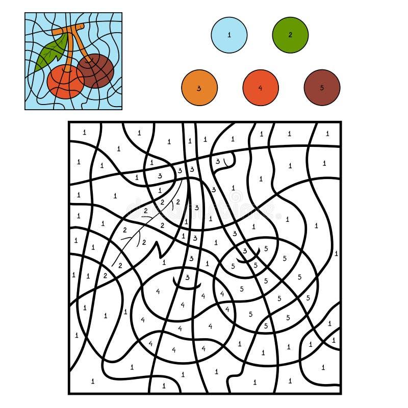 Kleur door aantal, vruchten en groenten (kers) stock illustratie
