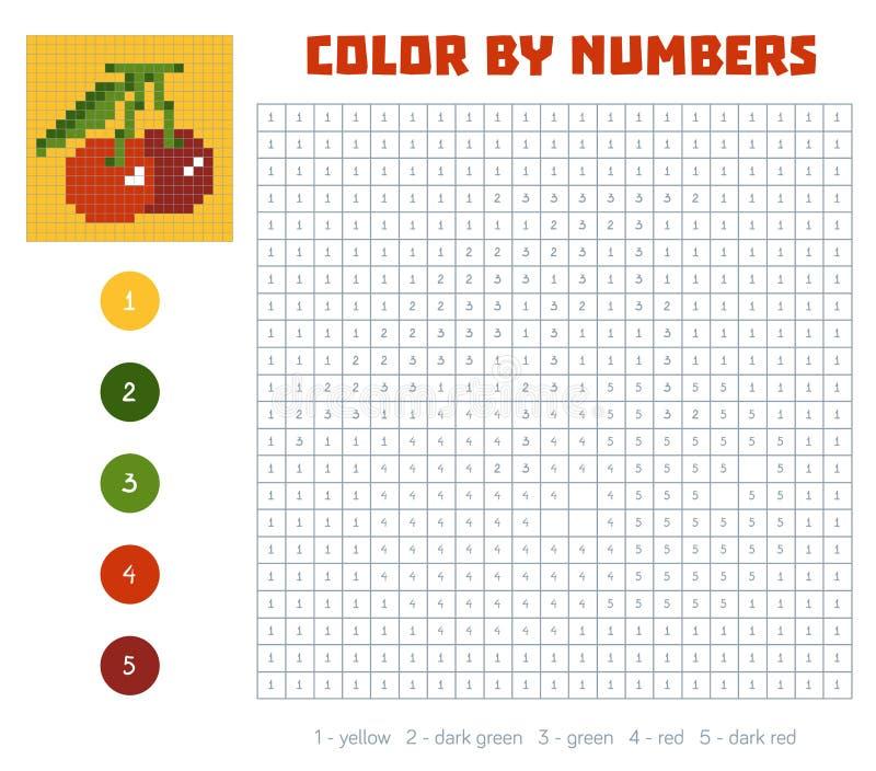 Kleur door aantal, vruchten en groenten, kers stock illustratie