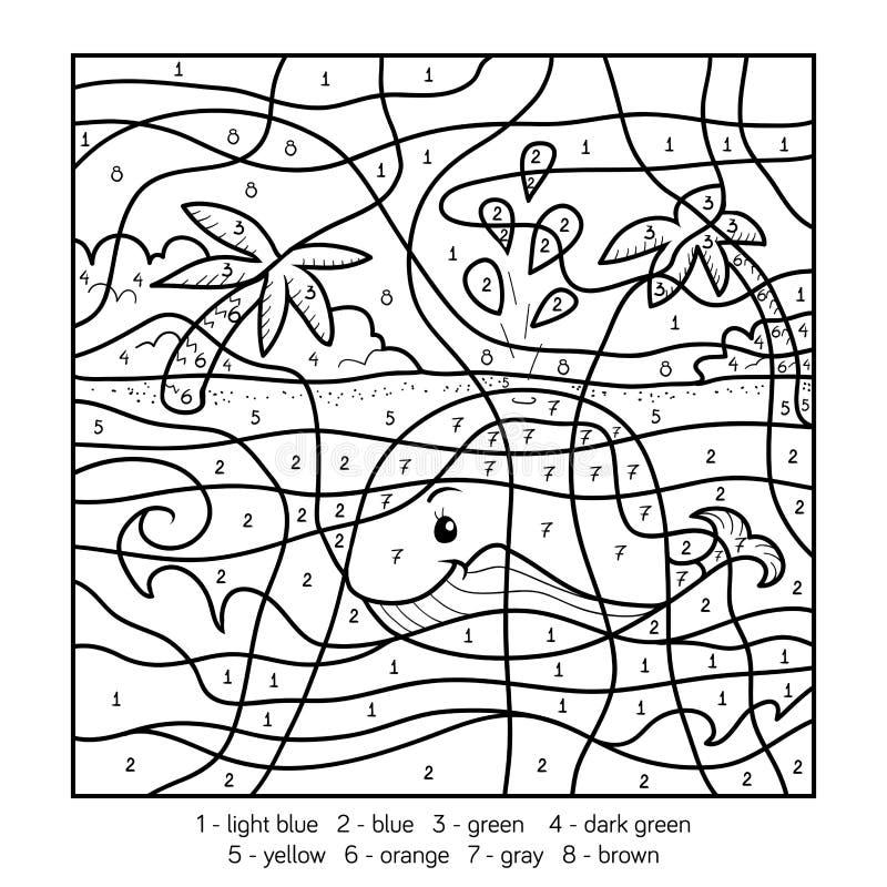 Kleur door aantal, walvis royalty-vrije illustratie