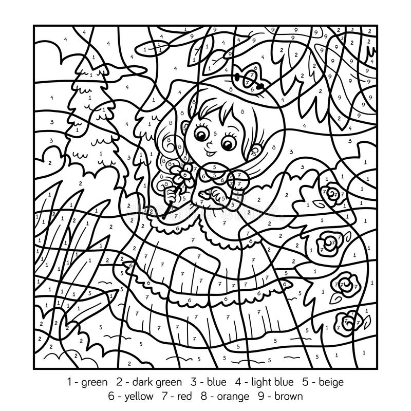Kleur door aantal, weinig prinses stock illustratie