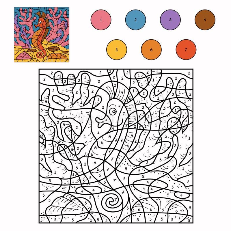 Kleur door aantal (zeepaardje) royalty-vrije illustratie