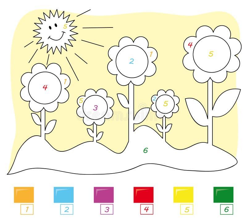 Kleur door aantalspel: bloemen stock illustratie
