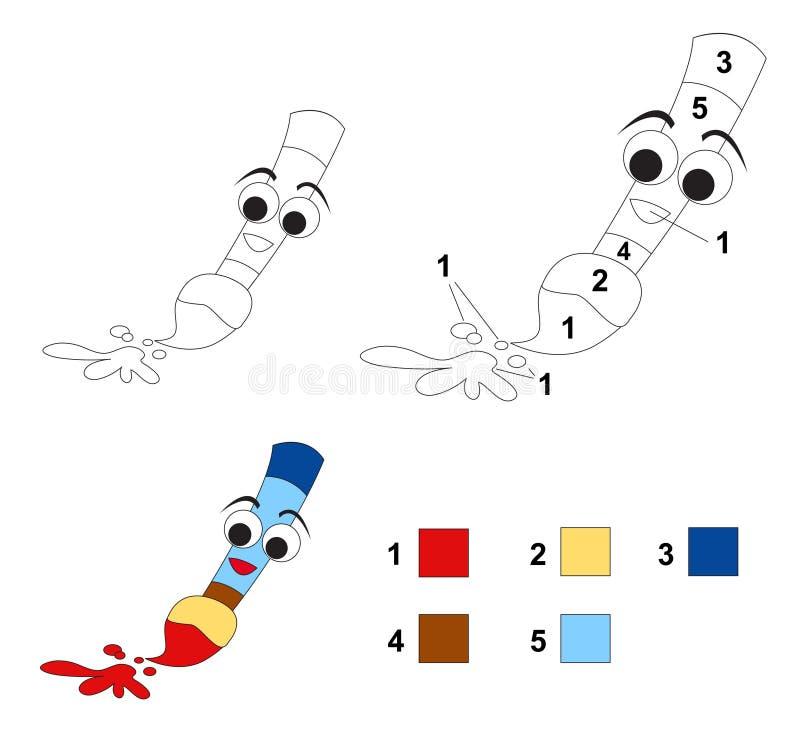 Kleur door aantalspel: Het penseel stock illustratie