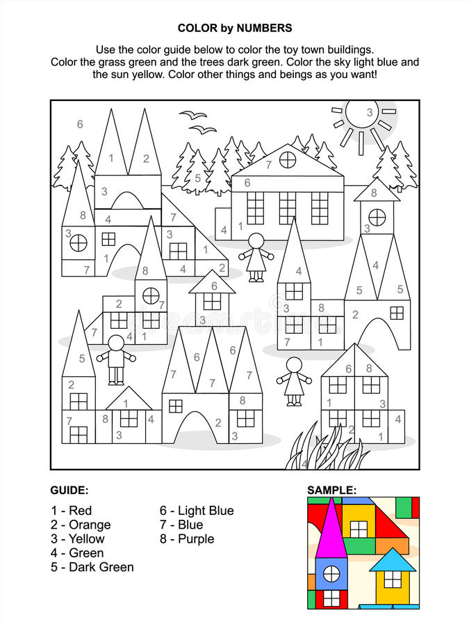 Kleur door de pagina van de aantallenactiviteit - stuk speelgoed stad vector illustratie