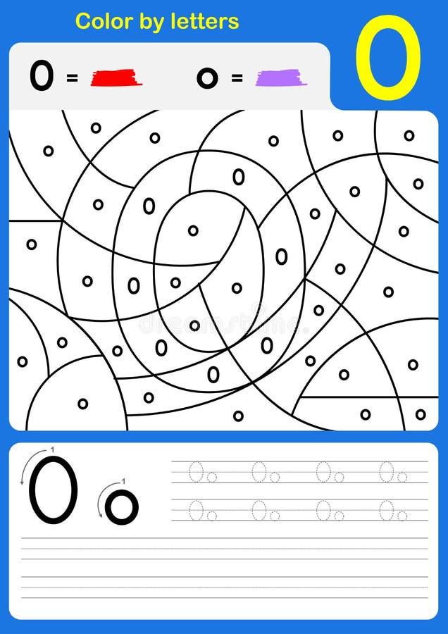 Kleur door het aantekenvel van het brievenalfabet - Kleur en het Schrijven stock illustratie