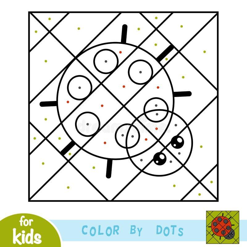 Kleur door punten, spel voor kinderen, Lieveheersbeestje stock illustratie