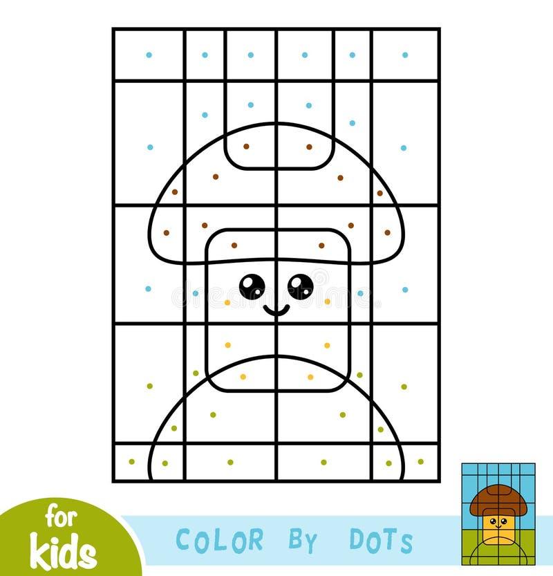 Kleur door punten, spel voor kinderen, Paddestoel royalty-vrije illustratie