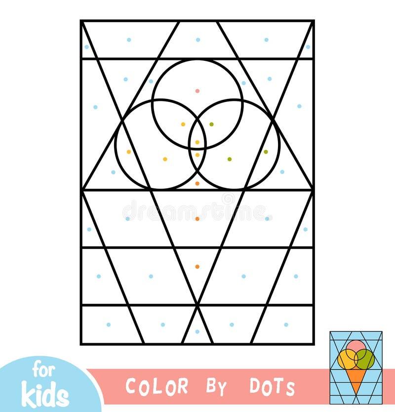 Kleur door punten, spel voor kinderen, Roomijs stock illustratie