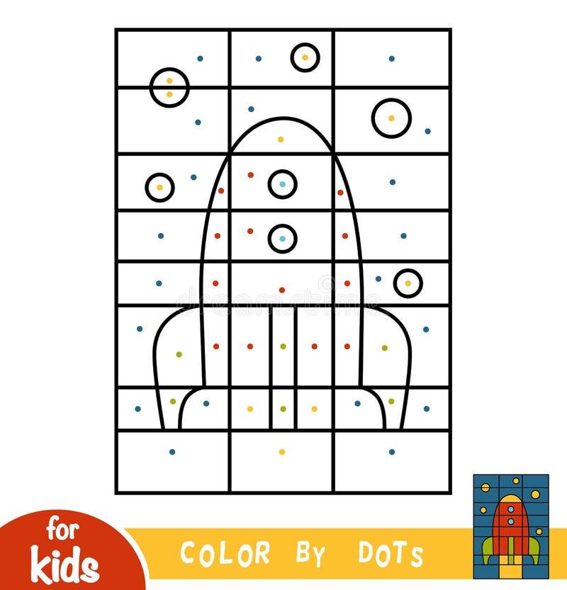 Kleur door punten, spel voor kinderen, Ruimteschip vector illustratie