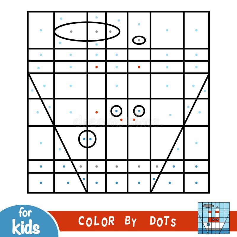 Kleur door punten, spel voor kinderen, Stoomschip royalty-vrije illustratie