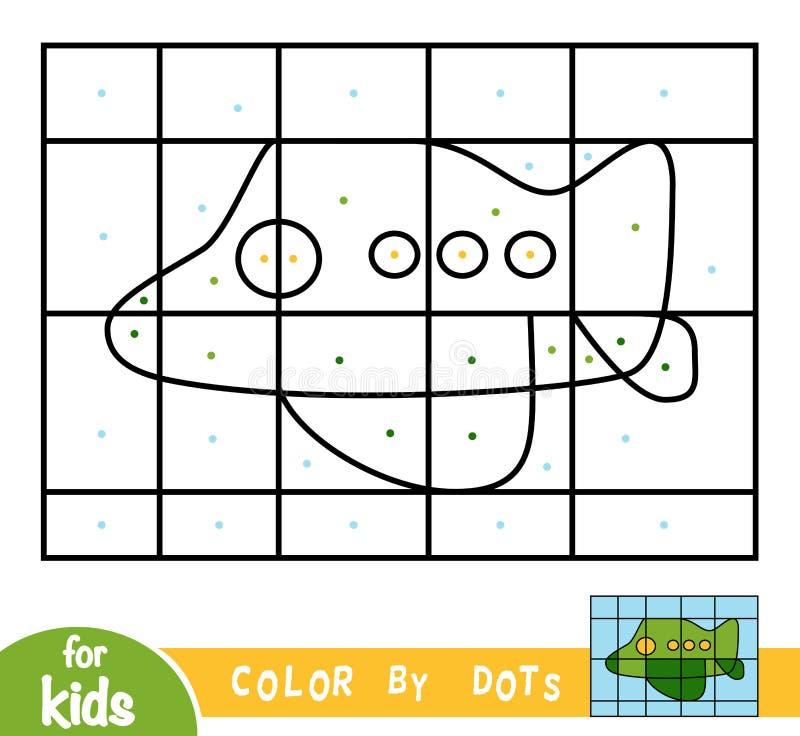 Kleur door punten, spel voor kinderen, Vliegtuig stock illustratie