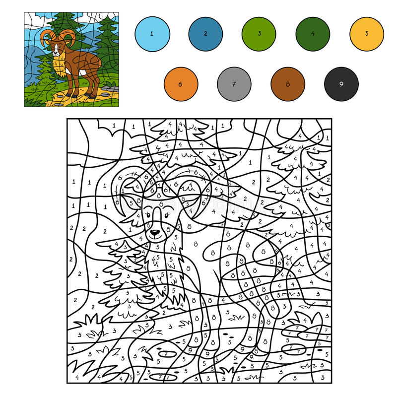Kleur door (urial) aantal royalty-vrije illustratie